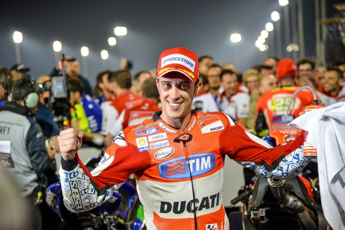 An ecstatic Andrea Dovizioso after finishing 2nd and leading many laps at Qatar. (Photo: MotoGP.com)