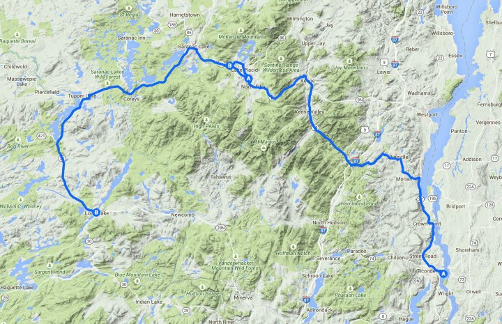 This is the route save for the 86/186 section out of Saranac Lake (I added the H