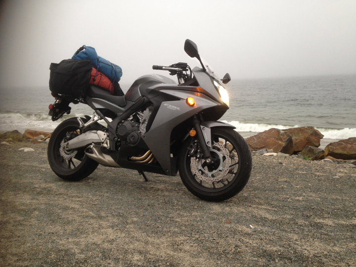 Two dry bags,a pair of Belstaff throw over bags, and the Nova Scotian weather could not faze the Honda.