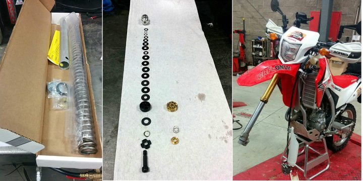 L-R: The kit includes a spring for the left-hand fork leg, and a set of shims and valves. The left-hand leg is where almost all the modifications take place.