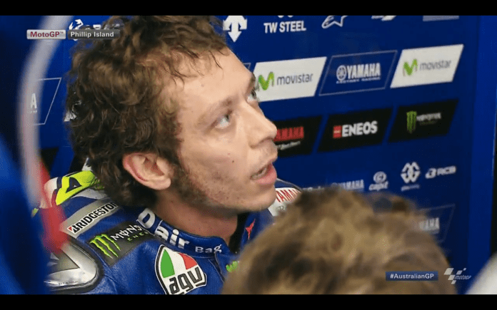 Valentino Rossi in his pit box after the race. Clearly utterly at his limits. Screen Grab : MotoGP.com