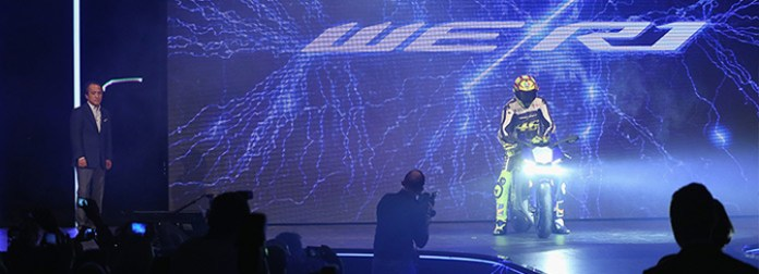 Valentino Rossi personally presents the Yamaha R1 at the world press launch at EICMA last year, literally and artistically shocking the press and public.