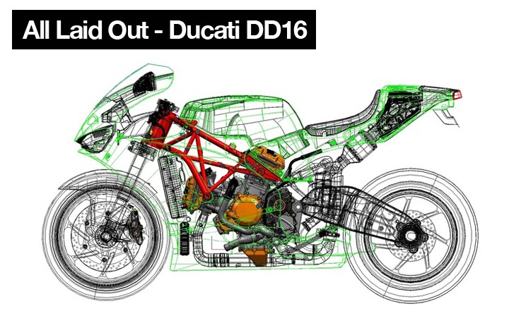 The completed principal layout of the Ducati Desmoseidici reveals the location and details of every major system. Bodywork (in green) is represented as a rough outline.
