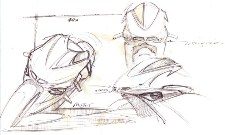 Early ball point pen exploration drawings for Radical Ducati show how free and lose this phase can be. Image : author