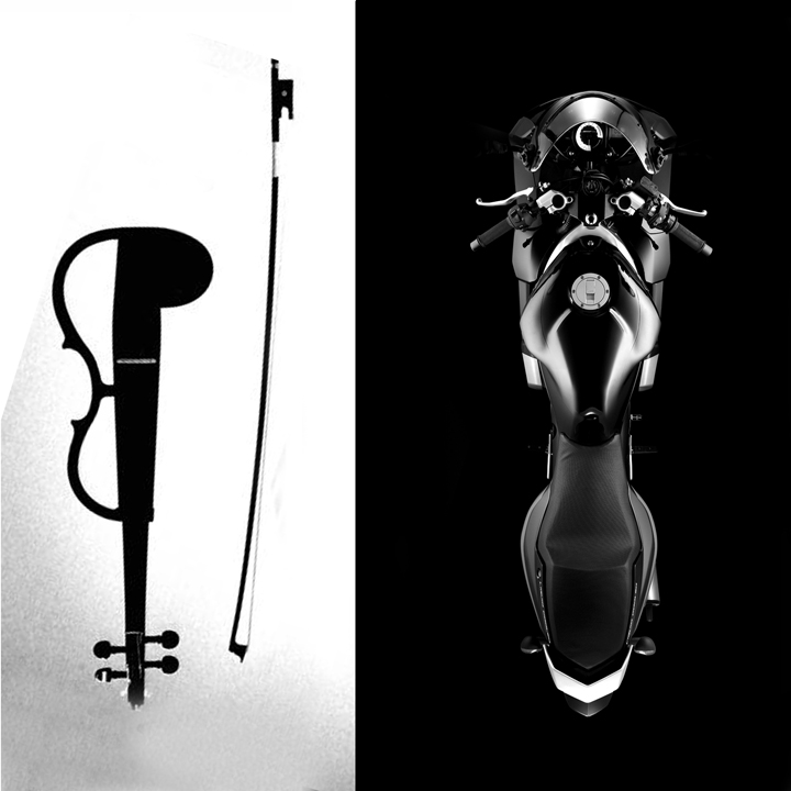 Yamaha electro-acoustic violin alongside Yamaha TZR 50. Image : author