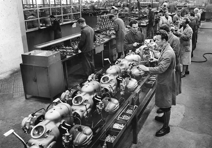 BMW Motorrad R1150 GS production line late last year. A place so relaxing, the man in the foreground is wearing knee-highs.
