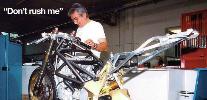 Massimo Tamburini works on MV prototype. The master designer was given a lot of leeway with company owner Claudio Castiglioni which gave the designer the time to create magnificent bikes. This did little to help MV's financial position.
