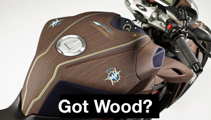 """Wood grain on an MV F4 """"California"""". It's weird. It's in poor taste. It's one of a kind. Perfect. Now make sure you charge accordingly."""