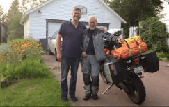 Rob with Motorcycle Mojo publisher Glenn Roberts. That driveway was the starting point of many road trips in the east coast.