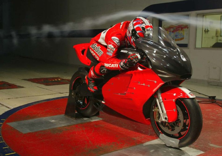 This actual photo of a wind tunnel test shows how violently laminar air flow unravels even on a racing motorcycle