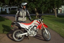 Rob's kitted-out CRF250L test bike. He might have been a very large man, but he had nothing against small bikes.