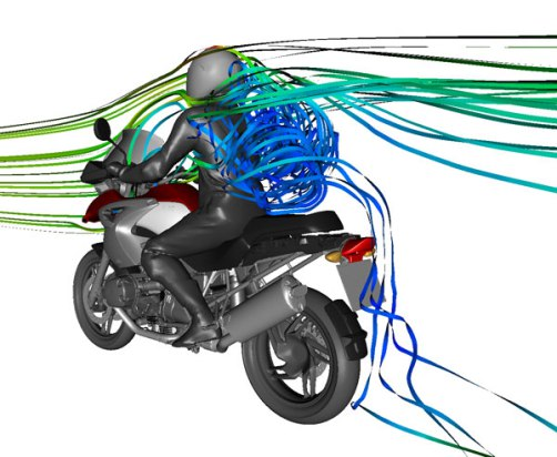 That's not spaghetti on his back... this computer simulation of air flow shows violent, turbulent air (in blue) tumbling around behind the rider and sucking at forward motion.