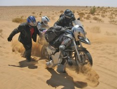 Helping with the work of motorcycle extraction in Morocco.