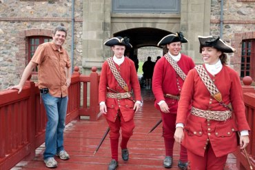 Off the bike, during a visit to the Fortress of Louisbourg.