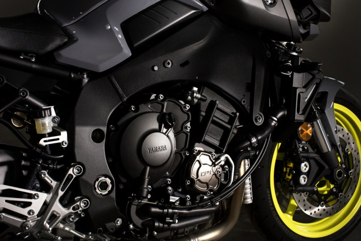 The motor is very similar to the crossplane four-cylinder that powers the R1S, but it has been tuned for better use on the street.