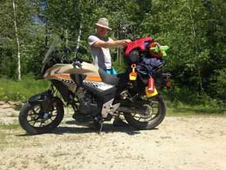 Despite warning sticker on tank, I overload the CB500X. You can never be too sure what you'll need on an adventure...