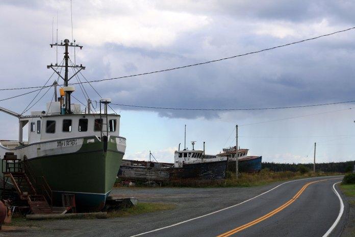 Roadside in eastern Nova Scotia, with rain bearing down quickly.