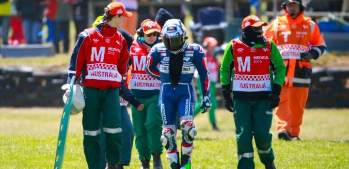 The Moto3 race was a bloodbath, with half the riders crashing out.