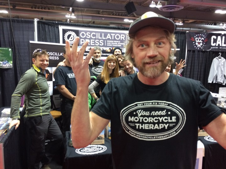 Flogging books at the bike show