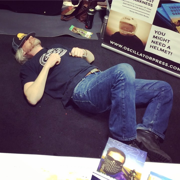 Flogging books at the bike show – Before…