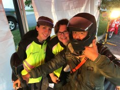 Rally masters Sabina Heilman and Carol Anne Skorvaga with rider Dan Lim.