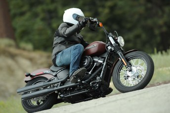 The stereotypical cruiser is low and slow, just like Zac as he sails by on the Harley-Davidson Street Bob.