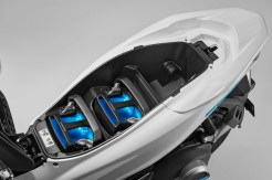 The PCX Electric has removable batteries, which makes charging or replacement easier.