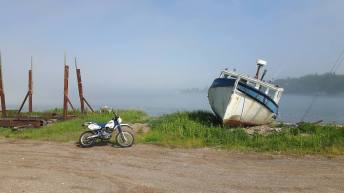 Abandoned boats are a common sight along this route, as fishermen beach their older vessels. Photo: Zac Kurylyk