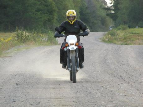 The Old Saint John Road is doable on street bike at slow speed, but it's much more fun on a real trail bike.