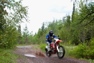 The constant transitions between pavement and gravel on this route make dual sport bikes like this Beta the ideal choice. Photo: Laura Deschenes