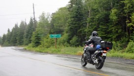 Throttling through Chance Harbour in the rain, on Rt. 790. This is one of the province's better street rides.