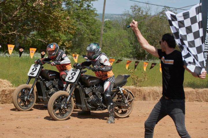 Flat-tracking on a Harley-Davidson