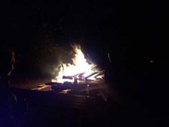 The Saturday night bonfire went a long way towards warming up returning riders. Photo: Zac Kurylyk