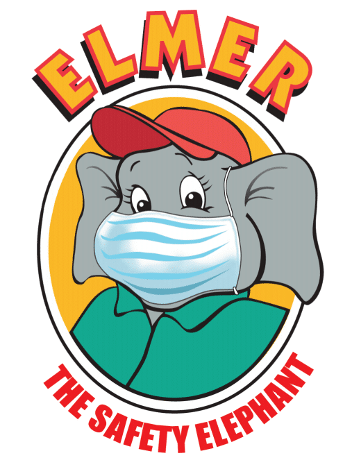elmer the safety elephant wearing a face mask