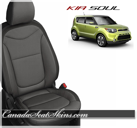 2016 Kia Soul Black Charcoal Carbon Grey Leather Seats