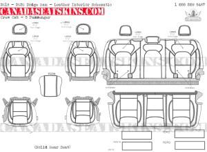 2019 - 2020 Ram Crew Cab Katzkin Leather Interior Schematic - 5 Passenger - Solid Rear Seat