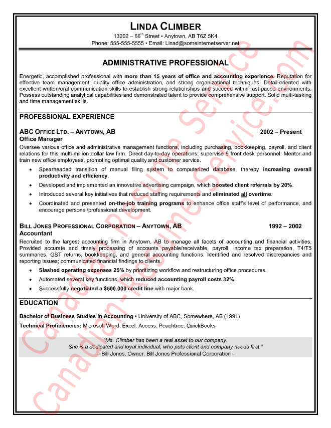 resume format used in canada