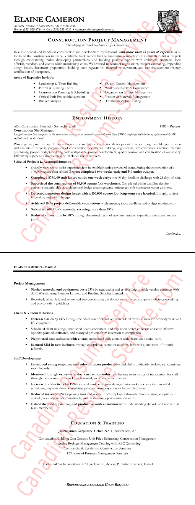 construction manager sample resumes