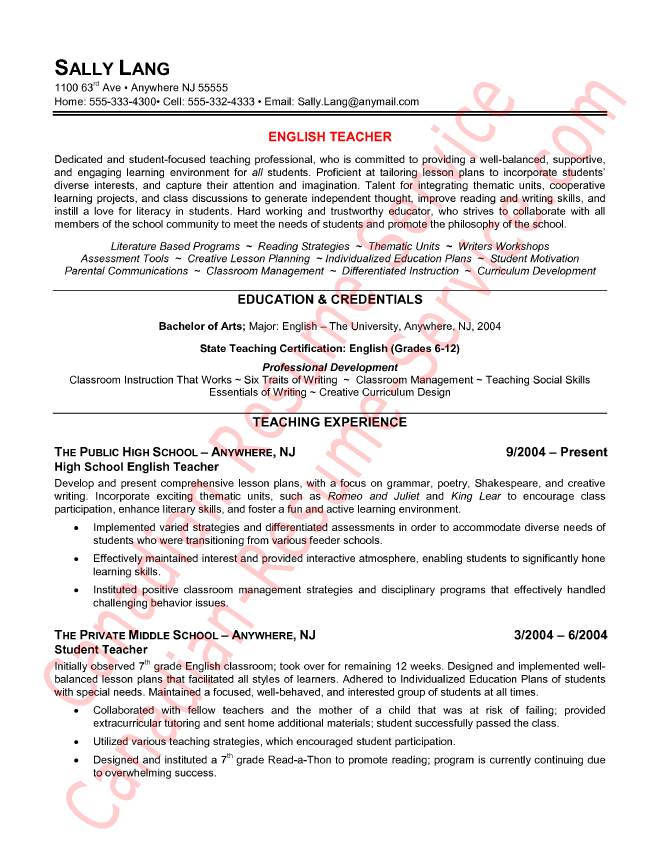 English Teacher Resume English Teacher Resume Template Cv  English Major Resume