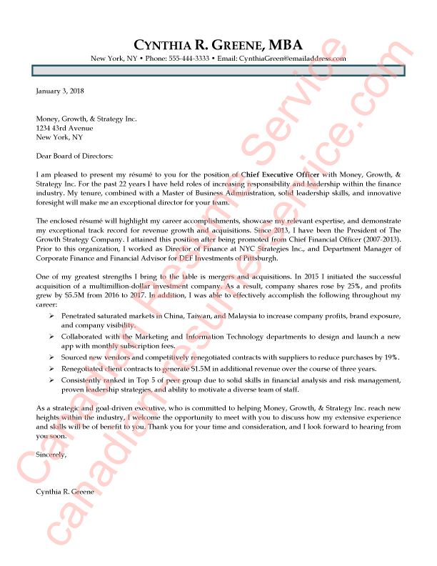 ceo cover letter examples