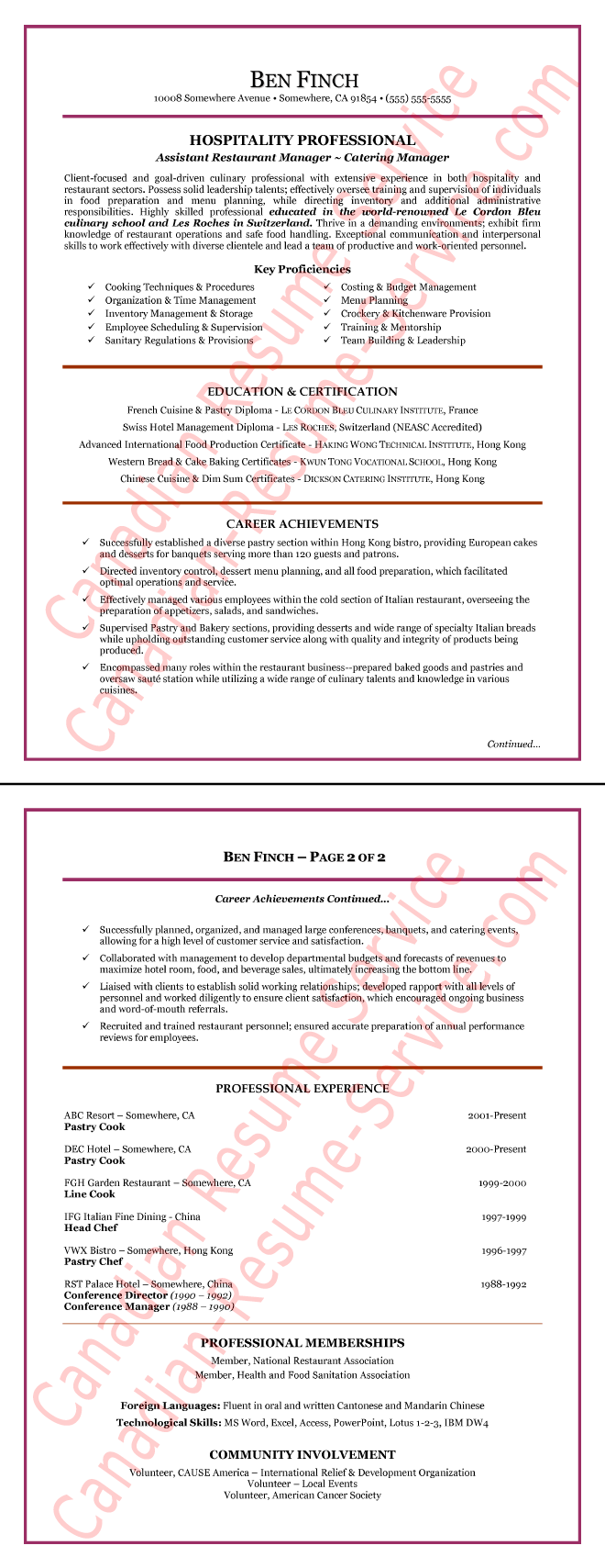 resume template for hospitality industry