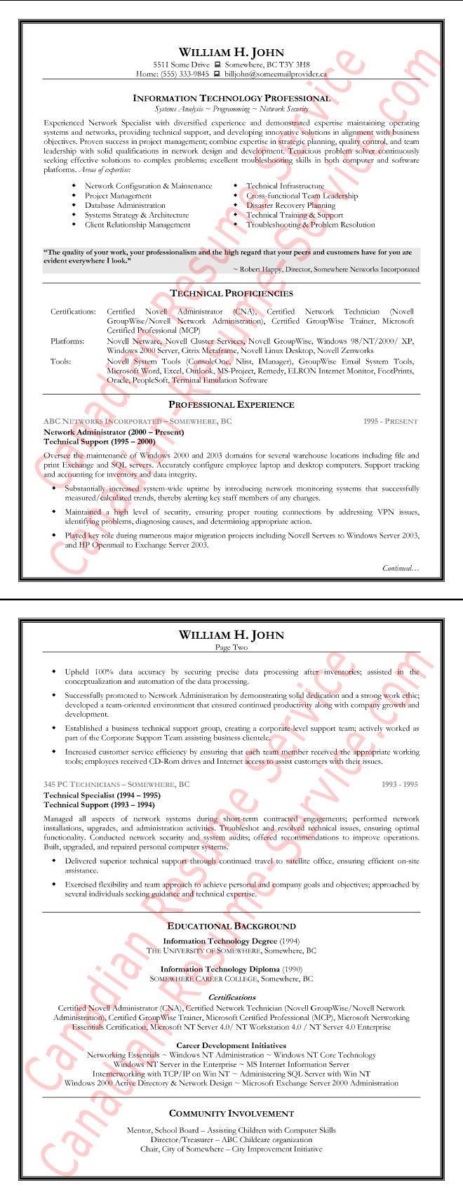 resume keywords for information technology