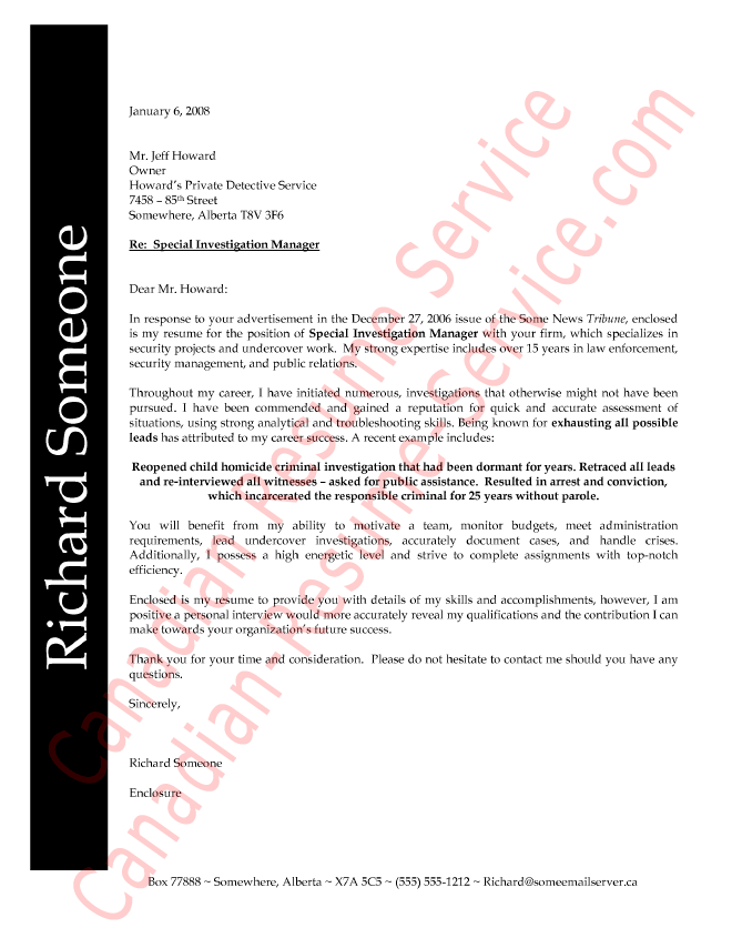 Law Enforcement Professional Cover Letter Example Sample