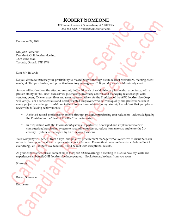 purchaser cover letter