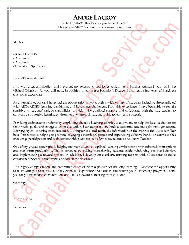 Teacher Assistant Letter of Introduction