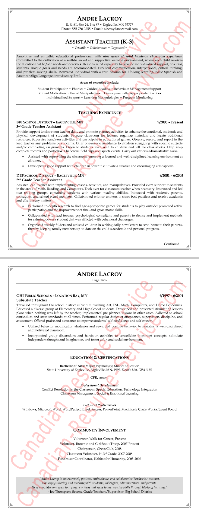 Teacher Assistant Resume Example Examples Of Resumes