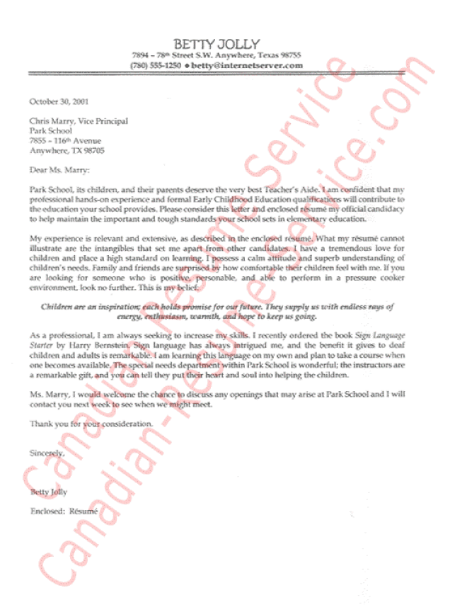 Teachers Aide Cover Letter Sample or Teaching Assistant