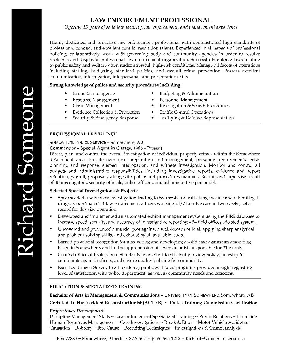 Law Enforcement Professional Resume