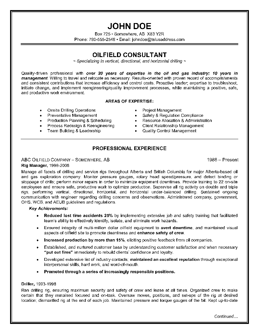 Achievements resume example epic example of a oilfield consultant resume sample yelopaper Images