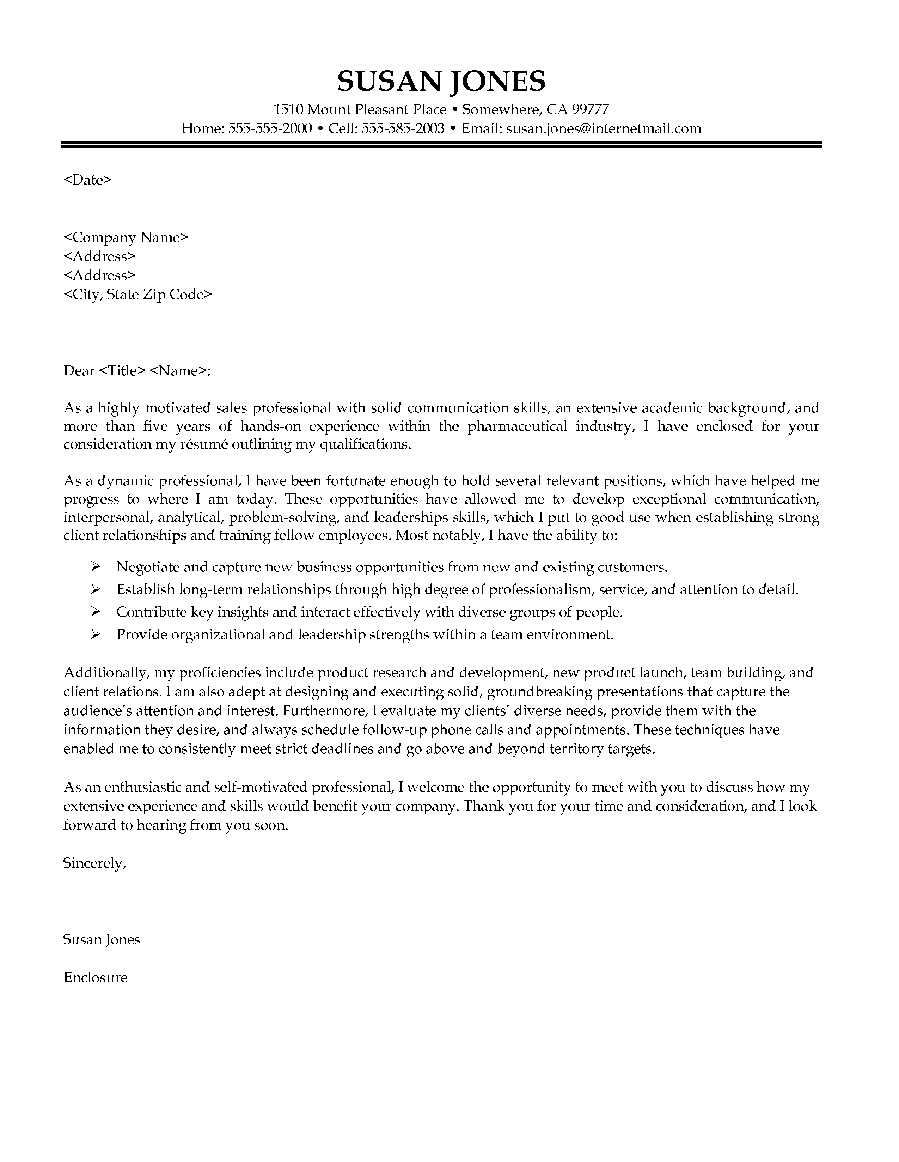 Pharmaceutical Sales Manager Cover Letter
